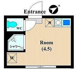 神奈川県川崎市中原区上平間の賃貸アパートの間取り