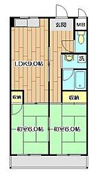 レジデントヒラノ[3階]の間取り
