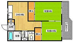京都府京都市西京区御陵荒木町の賃貸マンションの間取り
