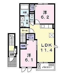 井原鉄道 早雲の里荏原駅 徒歩28分の賃貸アパート 2階2LDKの間取り