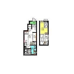 名古屋市営名城線 瑞穂運動場東駅 徒歩4分の賃貸アパート 1階ワンルームの間取り