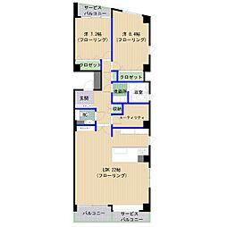コスモ南山荘通 3階2LDKの間取り