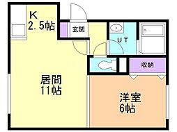 ジュピター白石中央II 3階1LDKの間取り