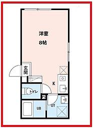 シャルム西新井 1階ワンルームの間取り