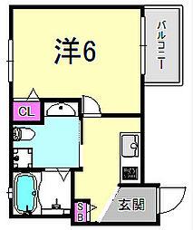 ワコーレヴィータ神戸中山手 3階1Kの間取り