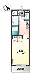 JR山陽本線 幡生駅 徒歩19分の賃貸アパート 2階1Kの間取り