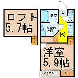 愛知県名古屋市西区天塚町3丁目の賃貸アパートの間取り