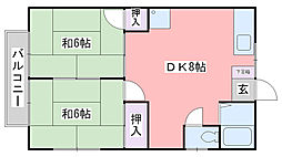 福岡県糸島市前原南1丁目の賃貸アパートの間取り