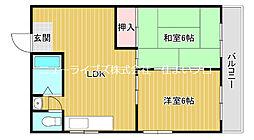 京阪本線 大和田駅 徒歩29分の賃貸マンション 2階2LDKの間取り