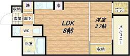 SERENiTE北浜 6階1LDKの間取り