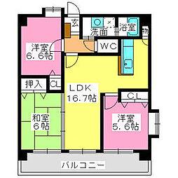 シャルム空港南 3階3LDKの間取り