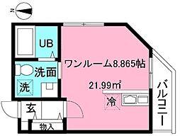 京王線 府中駅 徒歩10分の賃貸アパート 2階ワンルームの間取り