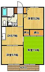 兵庫県神戸市北区鈴蘭台北町7丁目の賃貸アパートの間取り