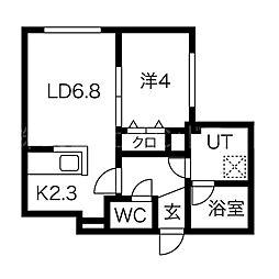 Chambre宮の沢 3階1LDKの間取り