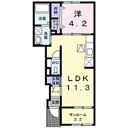 小月西の台アパート[1階]の間取り