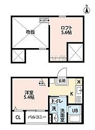 愛知県名古屋市中川区打中1丁目の賃貸アパートの間取り