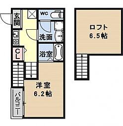 醍醐南西浦町SKHコーポ[203号室号室]の間取り