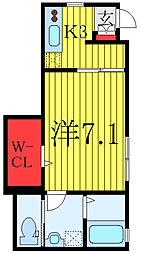 都営三田線 板橋区役所前駅 徒歩5分の賃貸アパート 1階1Kの間取り