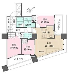 ザ・パークハウス西新宿タワー60 13階3LDKの間取り