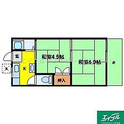 滋賀県大津市中庄2丁目の賃貸アパートの間取り
