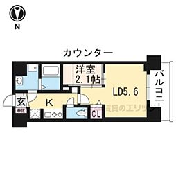 叡山電鉄叡山本線 茶山駅 徒歩3分の賃貸マンション 4階1LDKの間取り