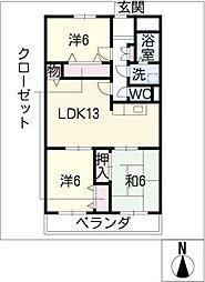 パビヨン徳川[1階]の間取り