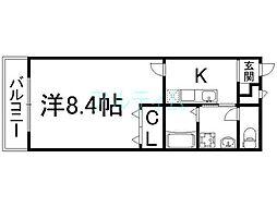 京都市営烏丸線 九条駅 徒歩10分の賃貸アパート 2階1Kの間取り