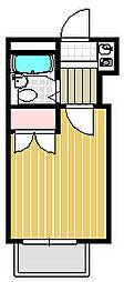 サンサバース真鶴 2階ワンルームの間取り