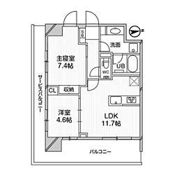M白金台 2階2LDKの間取り