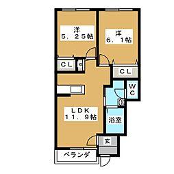 ポートスクエアB[1階]の間取り