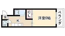 愛知県名古屋市天白区高宮町の賃貸アパートの間取り