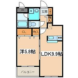 メゾンクレールHiyoshi[105号室]の間取り