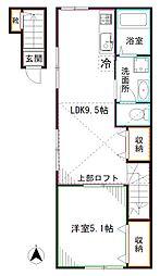 西武新宿線 野方駅 徒歩12分の賃貸アパート 2階1LDKの間取り
