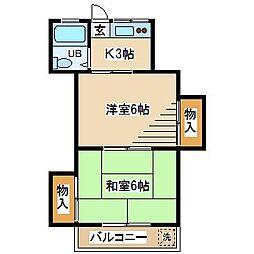 東京都府中市武蔵台1丁目の賃貸マンションの間取り