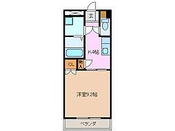 三重県四日市市大字塩浜の賃貸アパートの間取り