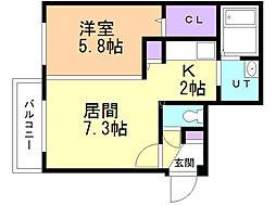 Rose Wood NAKANOSHIMA 1階1DKの間取り