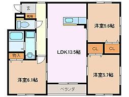 河原田フォーラム6[1階]の間取り