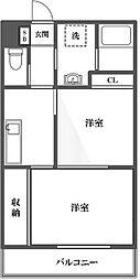 東京都大田区西蒲田1丁目の賃貸マンションの間取り