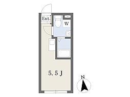 BoaSorte西糀谷 2階ワンルームの間取り