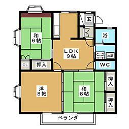 ローレンスパークB[2階]の間取り