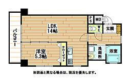 JR鹿児島本線 小倉駅 徒歩8分の賃貸マンション 9階1LDKの間取り