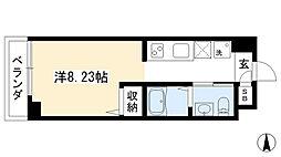 プランドール西院 5階1Kの間取り