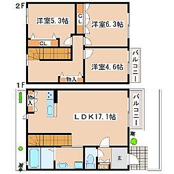 [テラスハウス] 兵庫県神戸市東灘区住吉山手4丁目 の賃貸【/】の間取り