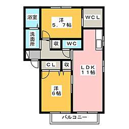 桃花ハイツIII[2階]の間取り