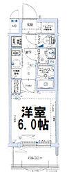 グランカリテ大阪城イースト 12階1Kの間取り