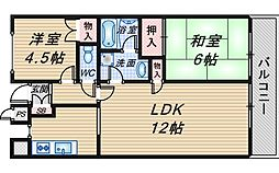 千里ヒルトンハイム[4階]の間取り