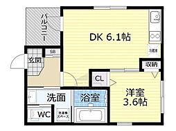 Osaka Metro今里筋線 緑橋駅 徒歩5分の賃貸アパート 1階1DKの間取り