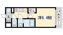 エスリード神戸兵庫駅マリーナスクエア 6階1Kの間取り