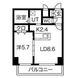 新築レゾ札幌 2階1LDKの間取り