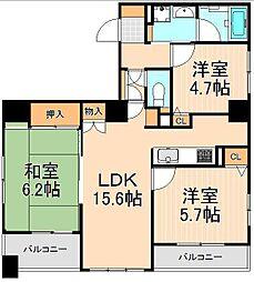 レクセルマンション上野松が谷[7階号室]の間取り